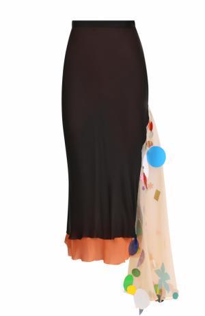 Шелковая юбка-карандаш с контрастной отделкой Christopher Kane. Цвет: черный