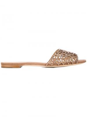 Декорированные сандалии Sergio Rossi. Цвет: коричневый