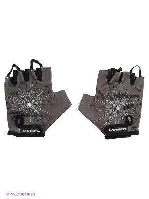 Велоперчатки 01-2806 Larsen. Цвет: серый, черный