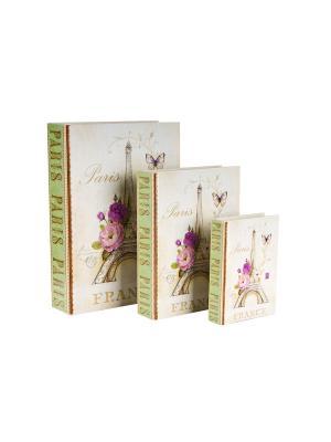 Набор из 3-х деревянных шкатулок Paris Collection Elff Ceramics. Цвет: белый, зеленый, сиреневый