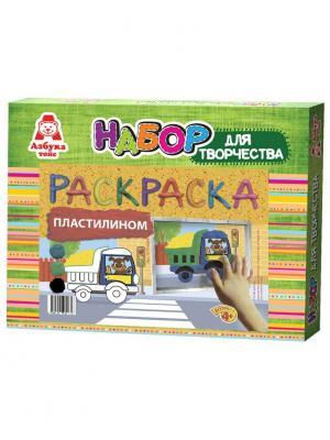 Раскраска пластилином Машинка Азбука Тойс. Цвет: зеленый
