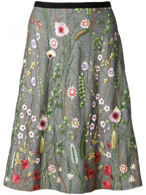 Юбка с цветочной вышивкой Odeeh. Цвет: многоцветный