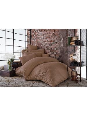 Комплект постельного белья BERTHA Beige/Бежевый, жаккард, 210ТС, 100% хлопок, евро ISSIMO Home. Цвет: коричневый