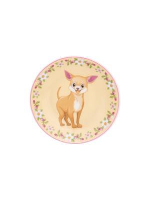 Тарелка декоративная Чихуахуа в цветах на бежевом Elan Gallery. Цвет: бежевый, белый, розовый