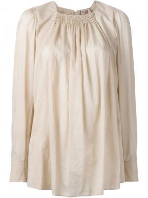 Блузка со сборками на вырезе Nº21. Цвет: розовый и фиолетовый