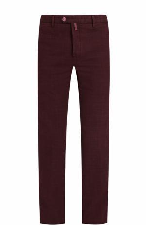Хлопковые брюки прямого кроя Kiton. Цвет: бордовый