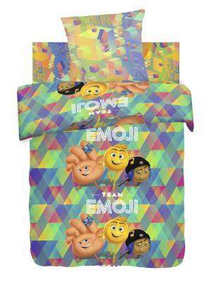 Комплект постельного белья 1,5 бязь Emoji movie Команда Эмоджи Непоседа. Цвет: голубой, желтый
