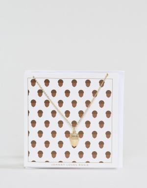 Johnny Loves Rosie Новогоднее ожерелье с подарочной открыткой. Цвет: золотой