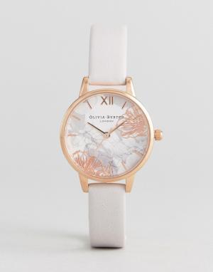 Olivia Burton Часы с кожаным ремешком и абстрактным цветочным принтом. Цвет: розовый