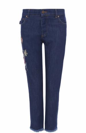 Джинсы с потертостями и вышивкой Zadig&Voltaire. Цвет: темно-синий