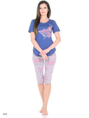 Костюм-футболка, бриджи NAGOTEX. Цвет: синий, серый