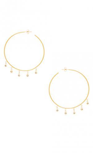 Cz shaker hoop earrings Jacquie Aiche. Цвет: металлический золотой
