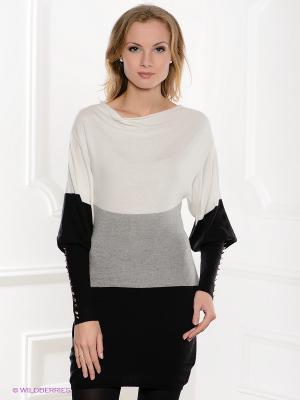 Платье MONDIGO. Цвет: молочный, черный, серый