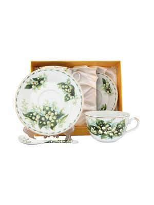 Чайная пара Ландыши Elan Gallery. Цвет: белый, зеленый
