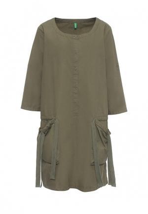 Платье United Colors of Benetton. Цвет: хаки