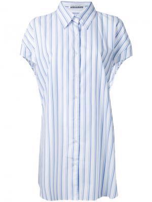 Удлиненная рубашка в полоску Mikio Sakabe. Цвет: синий