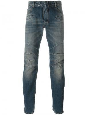Байкерские джинсы Balmain. Цвет: синий