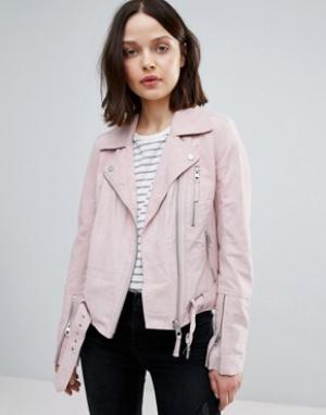Urbancode Замшевая байкерская куртка. Цвет: розовый