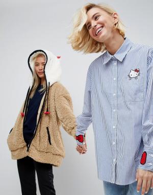 ASOS Рубашка в полоску с вышивкой на кармане и манжетах Hello Kitty X. Цвет: мульти