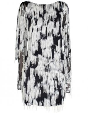 Хлопковое платье Jay Ahr. Цвет: черный, белый, серебряный