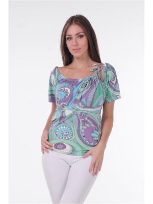 Блузка MONO collection. Цвет: морская волна, белый, салатовый