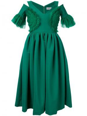 Расклешенное платье с вырезными деталями Preen By Thornton Bregazzi. Цвет: зелёный