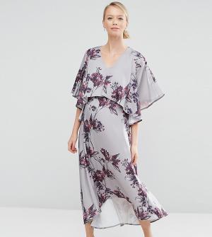 Hope and Ivy Maternity Платье миди 2 в 1 для беременных с асимметричным краем & Mate. Цвет: серый
