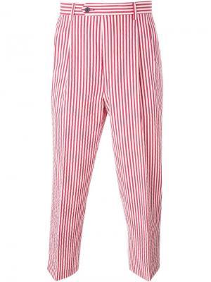 Укороченные брюки в полоску Lc23. Цвет: красный