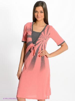 Платье Timezone. Цвет: красный, темно-серый