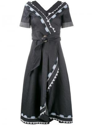 Платье с запахом и вышивкой Peter Pilotto. Цвет: синий