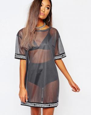 SHADE London Полупрозрачное сетчатое платье-футболка. Цвет: серебряный