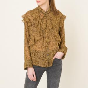 Рубашка с воланами SISTER JANE. Цвет: леопард