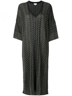Расклешенное платье с узором Lala Berlin. Цвет: чёрный