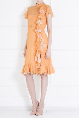 Шелковое платье Luisa Beccaria. Цвет: оранжевый