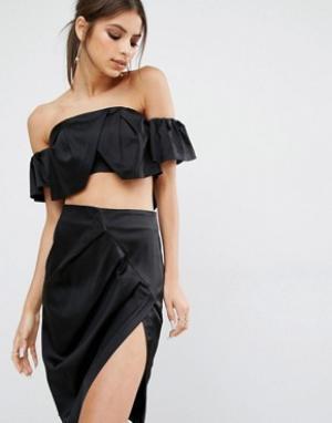 Kendall + Kylie Топ-бандо с рюшами. Цвет: черный