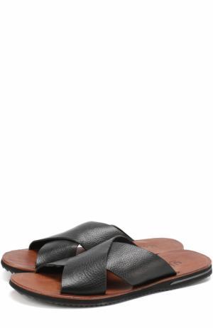 Кожаные шлепанцы с широкими ремешками Uit. Цвет: черный