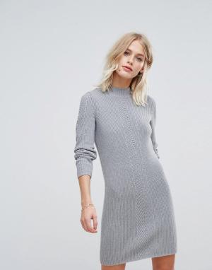 Esprit Вязаное платье мини. Цвет: серый