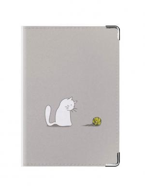 Обложка для паспорта Кошечка и клубочек Tina Bolotina. Цвет: серый