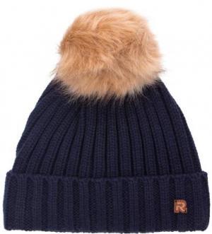 Вязаная синяя шапка со съемным помпоном R.Mountain. Цвет: синий