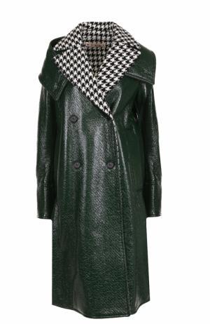 Двубортное пальто свободного кроя Marni. Цвет: зеленый