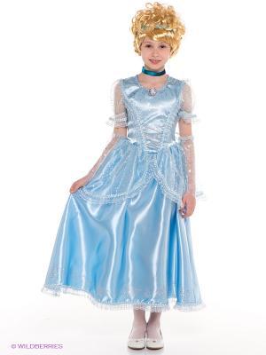 Карнавальный костюм Принцесса Золушка Батик. Цвет: голубой