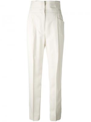 Классические брюки с завышенной талией Ermanno Scervino. Цвет: телесный