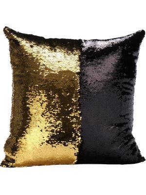 Подушка с пайетками  декоративная GOOD MOOD, коллекция Magic Shine MOOD. Цвет: черный, золотистый