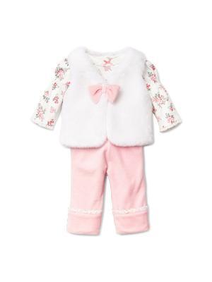 Комплект из 3-х предметов Розовый замок Little Me. Цвет: белый, розовый