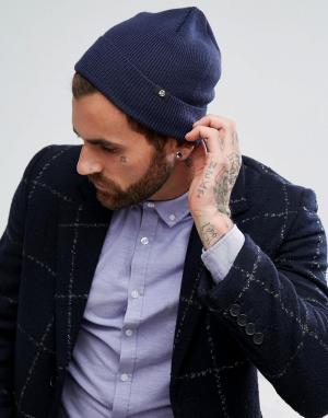 PS Paul Smith Темно-синяя шапка-бини из мериносовой шерсти. Цвет: темно-синий