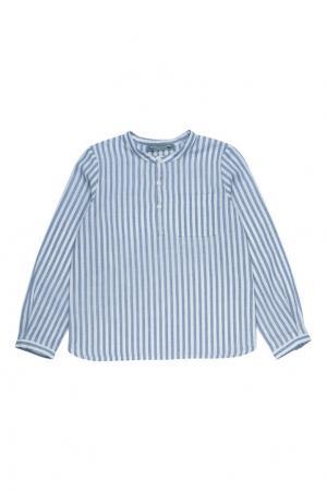 Синяя рубашка из хлопка и льна ARTISTE Bonpoint. Цвет: синий
