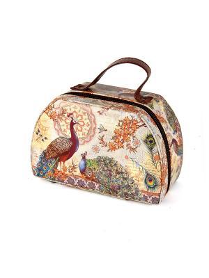 Шкатулка для косметики 22*15*10см Русские подарки. Цвет: коричневый, светло-коричневый, оранжевый, лазурный, зеленый