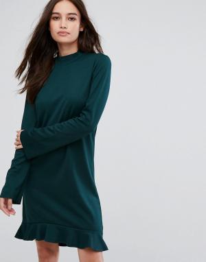 Vila Платье с длинными рукавами и оборкой. Цвет: зеленый