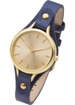 Часы на узком браслете (синий/золотистый) bonprix. Цвет: синий/золотистый