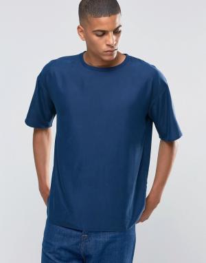 ADPT Тканая хлопковая футболка с круглым вырезом. Цвет: темно-синий
